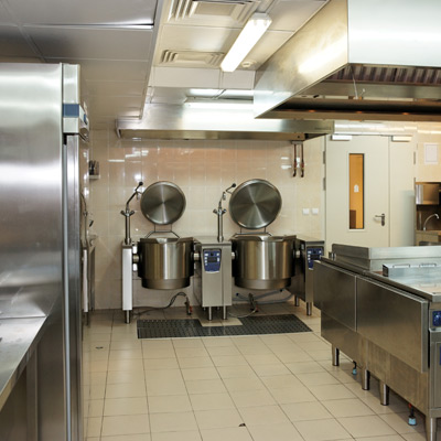 An industrial kitchen.